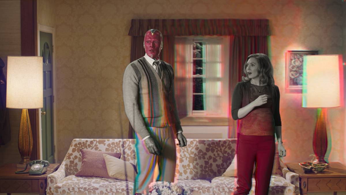 TUNING IN: Paul Bettany as Vision and Elizabeth Olsen as Wanda Maximoff in WandaVision. Below, Tiger provides an intriguing profile of the flawed golfing genius.